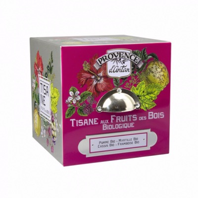 Tisane Cube Fruits Rouges Bio - Coffret métal 24 sachets - Provence d'Antan